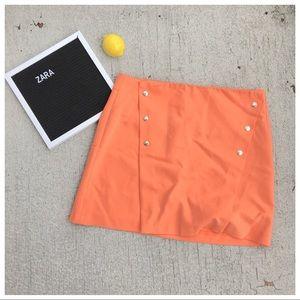 Zara Button-Front Mini Skirt
